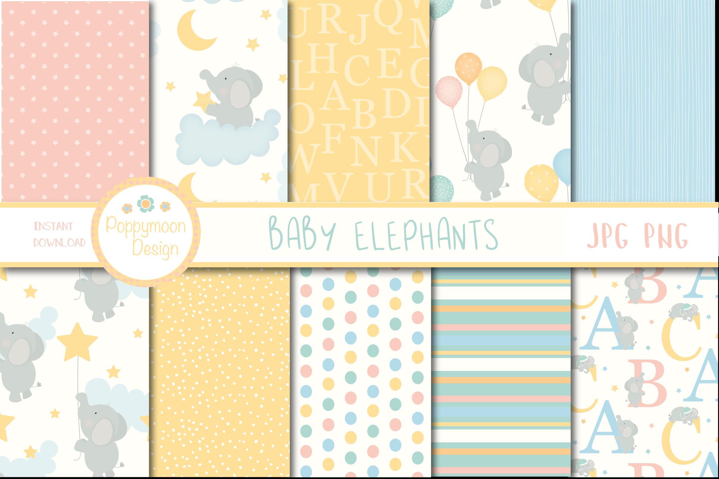 Baby Elephant Paper Graphic By Poppymoondesign Baby Elephant