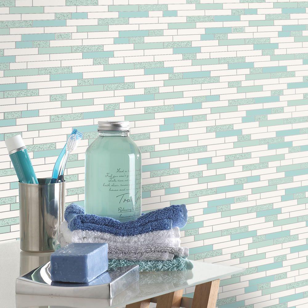 Kitchen / Bathroom Wallpaper-Tiles Oblong Granite- Teal & Silver ...