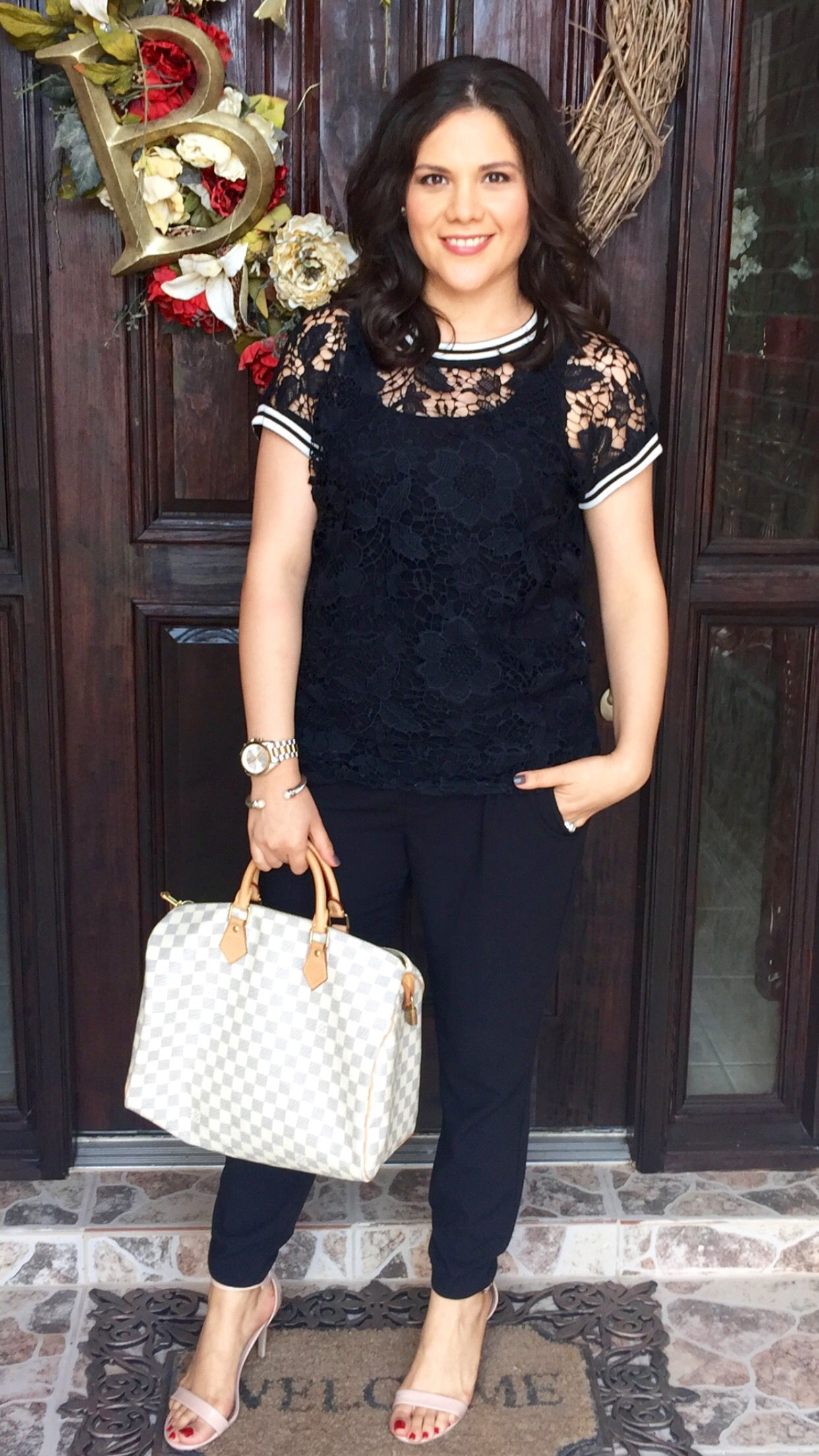 Late summer outfit | ideas | lace blouse | black | cropped slacks | nude | minimal heels | Louis Vuitton | Damiere ebene | speedy 35 | mommy style
