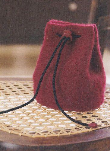 Crochet Pattern Felted Drawstring Bag Instructions Craft Ideas