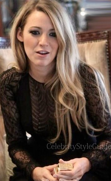 Seen on Celebrity Style Guide: Blake Lively wore a black lace long ...