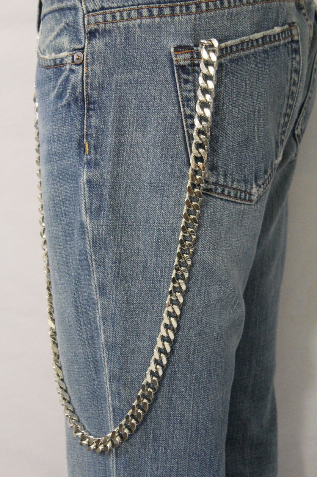 Silver Metal Wallet Chains KeyChain Strong Chunky Links Long Strand Biker Jeans