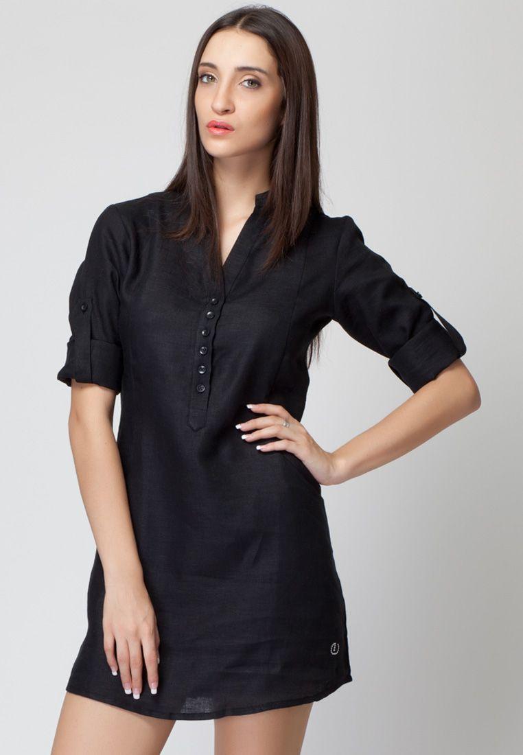 Black t shirt jabong - Roll Up Sleeve Black Linen Dress Mksp Buy Women S Dresses Online In India