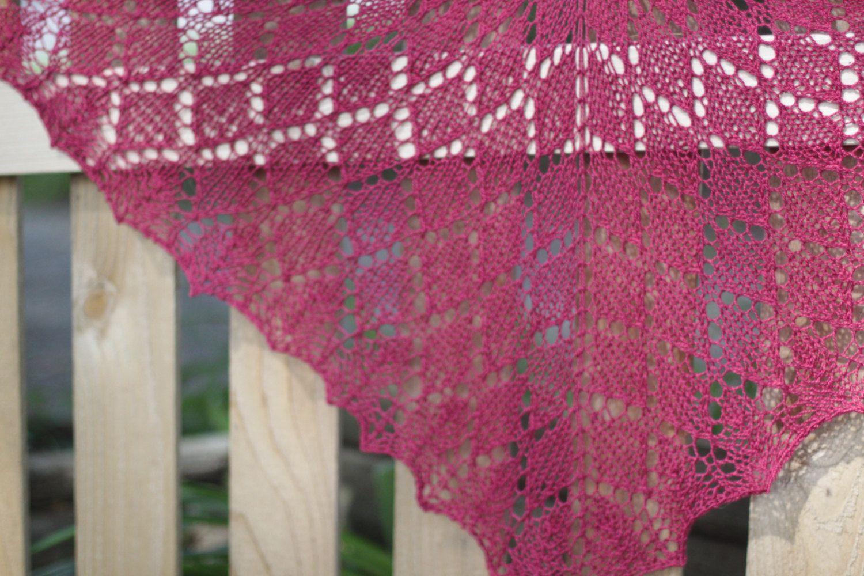 Pink Diamonds Lace Knit Shawl - Elegant Lacy Wedding Wrap in Bamboo ...