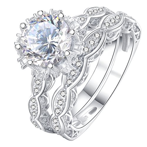 Newshe Vintage Engagement Rings Wedding Set For Women 925 Sterling Silver 3ct Round White Cz Sz 5 10 Engagement Rings Wedding Bands Set Sterling Silver Wedding Band Silver Wedding Bands