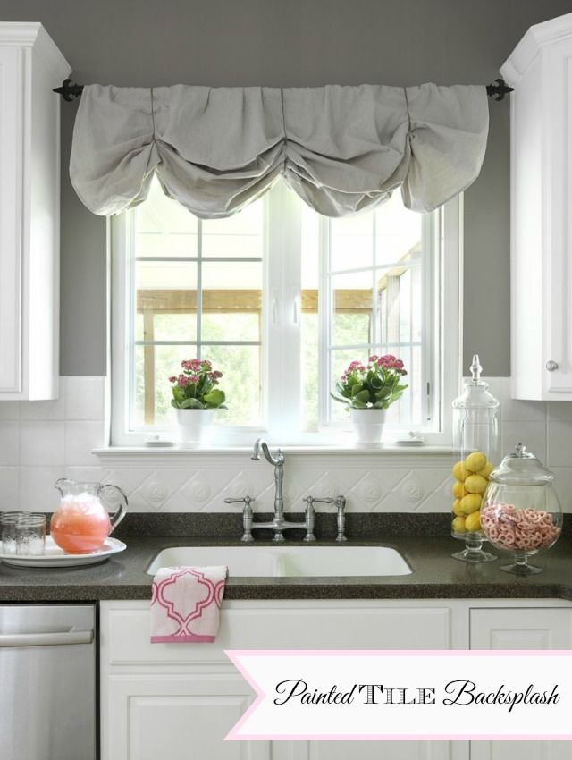 Painted Ceramic Tile Backsplash In My Kitchen A Year Later 11 Magnolia Lane Kitchen Window Valances Diy Window Valance Home