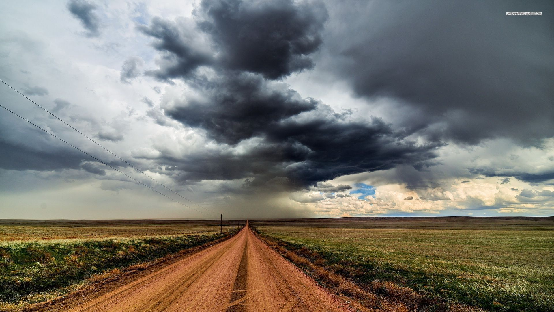 Dirt road under the stormy sky wallpaper # | ART - Ideas ...