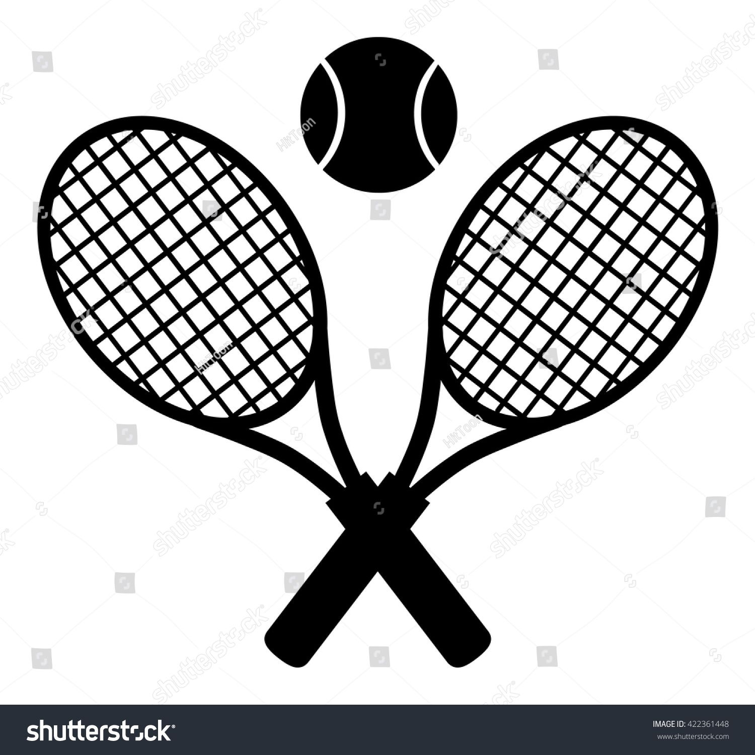 Crossed Racket And Tennis Ball Black Silhouette Vector Illustration Isolated On White Tennis Tennis Ball Tennis Racket