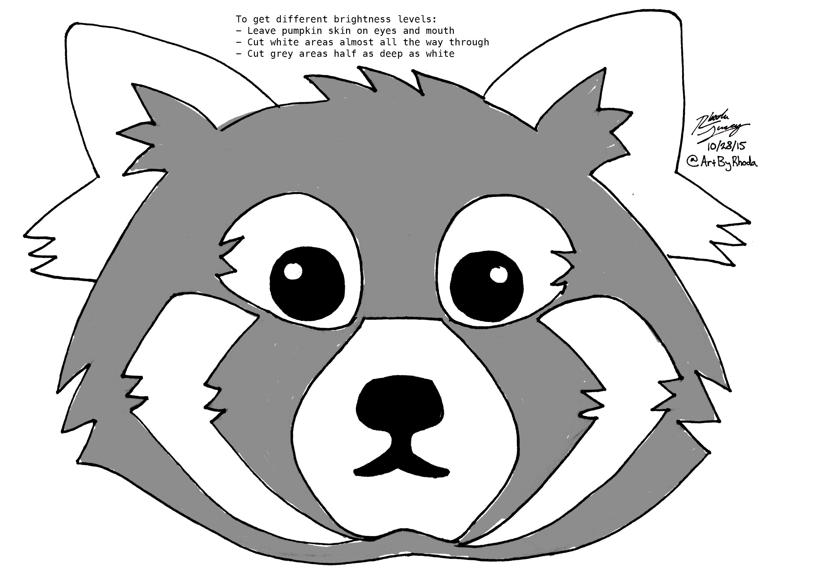 here s a wonderful red panda pumpkin carving template just in time rh pinterest com