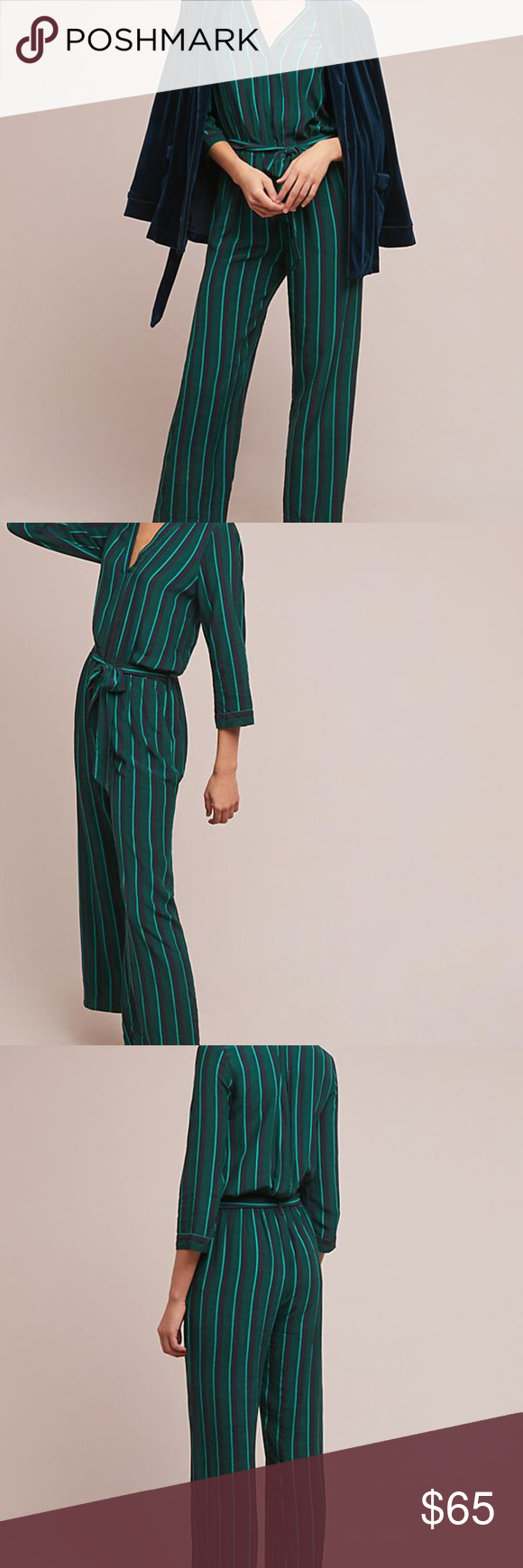 c00cedf4ef71 Anthropologie Fina Striped Jumpsuit Striped in contrasting hues of green  and navy