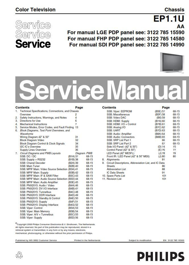 Philips 42pf7321d Ep1 1uaa Tv Service Manual And Repair