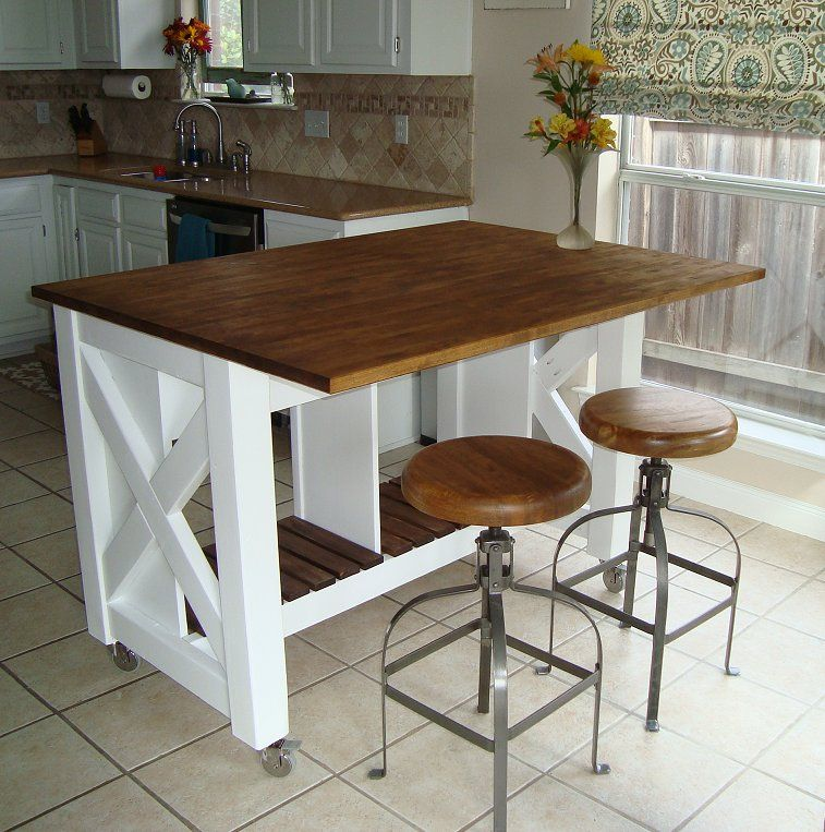 kitchen island on wheels Do It Yourself Kitchen Island | Rustic X Kitchen Island   DONE  kitchen island on wheels