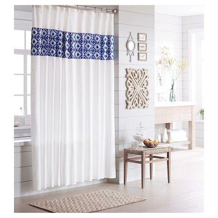 $30 shower curtain... Threshold™ Shower Curtain - Tile Blue : Target ...