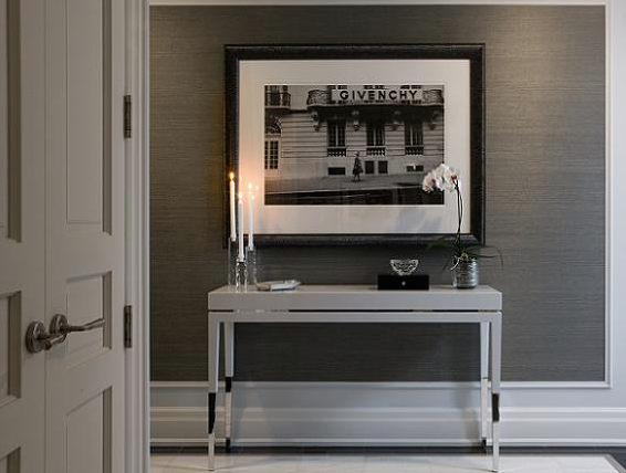 Taylor Hannah Architect   Dens/libraries/offices   Console Table, White  Console Table, Grass Grasscloth Wallpaper, Charcoal Gray And Crisp White