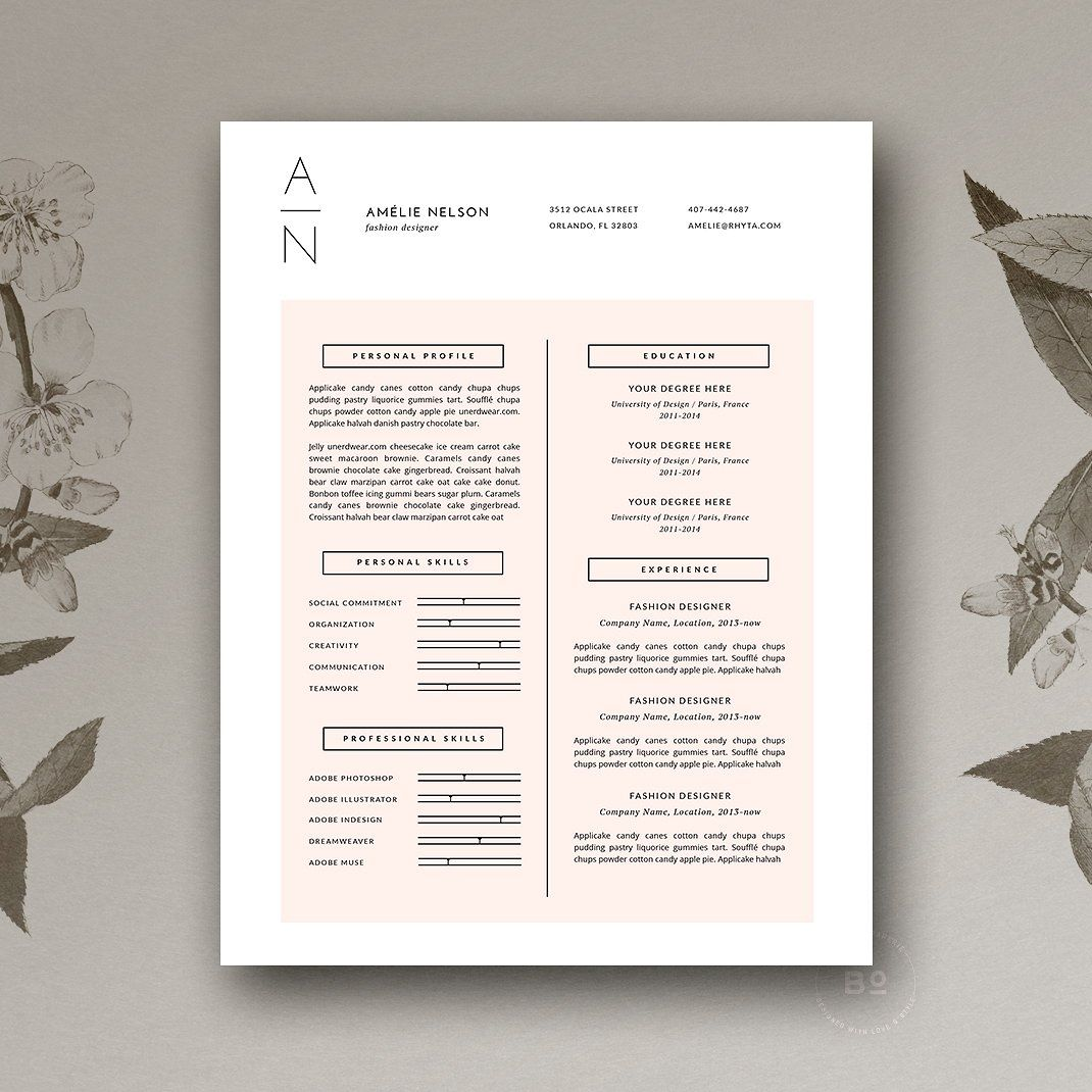 Resume Cover Letter Cv Design By Botanica Paperie On