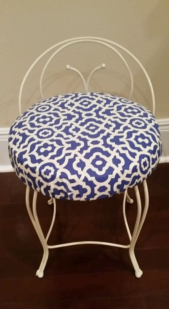 Vintage Vanity Chair Stool White Metal With Blue And Waverly Fabric Seat Ebay