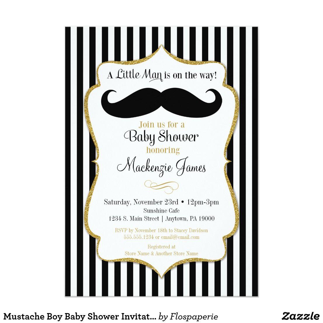Mustache Boy Baby Shower Invitation Black Gold | Boy baby showers ...