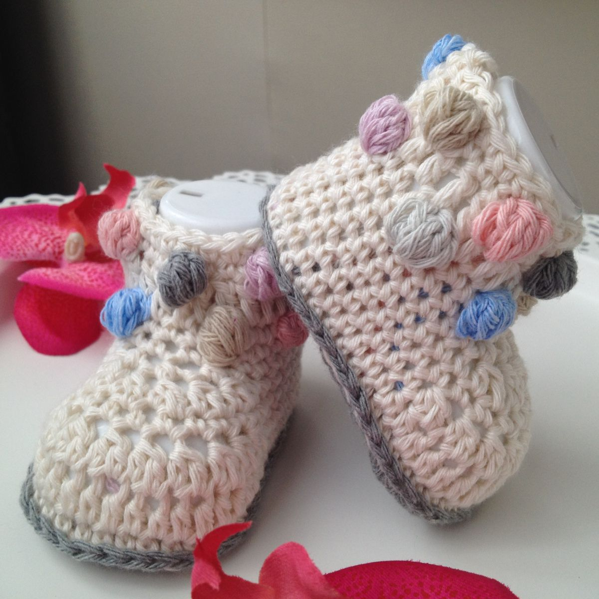 CROCHET BABY BOOTIES NO.46 – Free pattern Materials: I use cotton ...