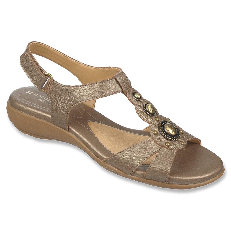 Naturalizer Women's Carlita Huarache Sandal,10 B(M) US,Nickel Alloy Goat  Metallic Leather