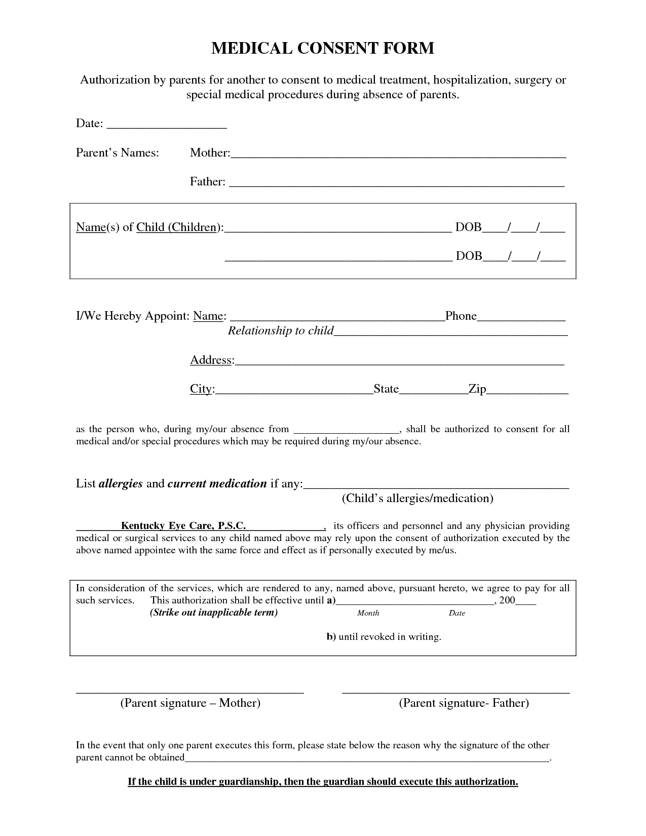 Medical Procedure Consent Form Template