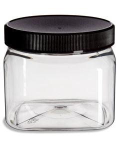 16 Oz Clear Pet Square Plastic Jar With Black Lid Plastic Jars Cosmetic Jars Jar