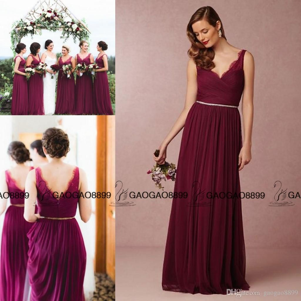 ec2612b6a0f Wine Red Burgundy Lace Tulle Long Boho Beach Bridesmaid Dresses in ...