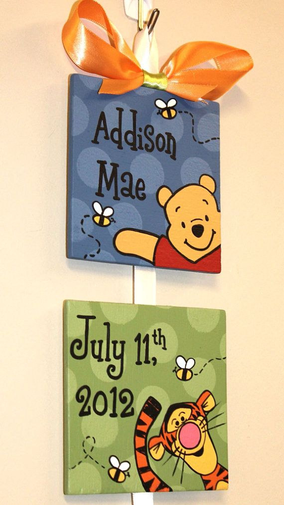 Winnie the pooh style birth announcement for baby 39 s - Habitacion winnie the pooh ...