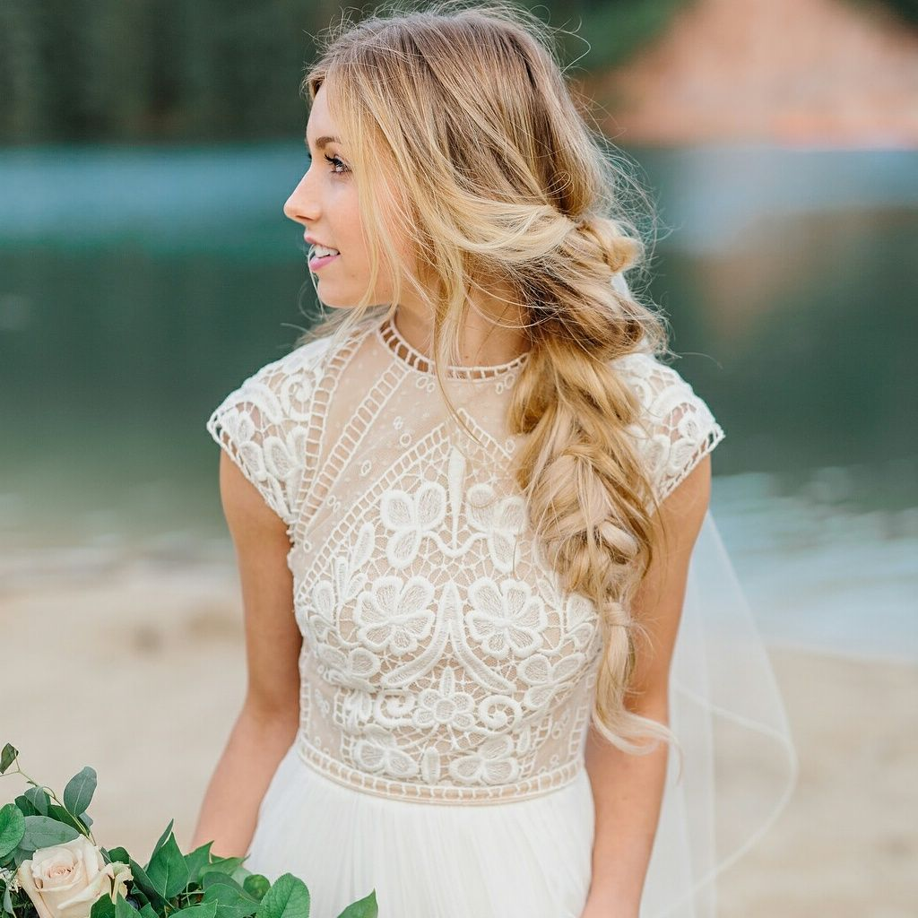 Modest wedding dress with cap sleeves from alta moda modest