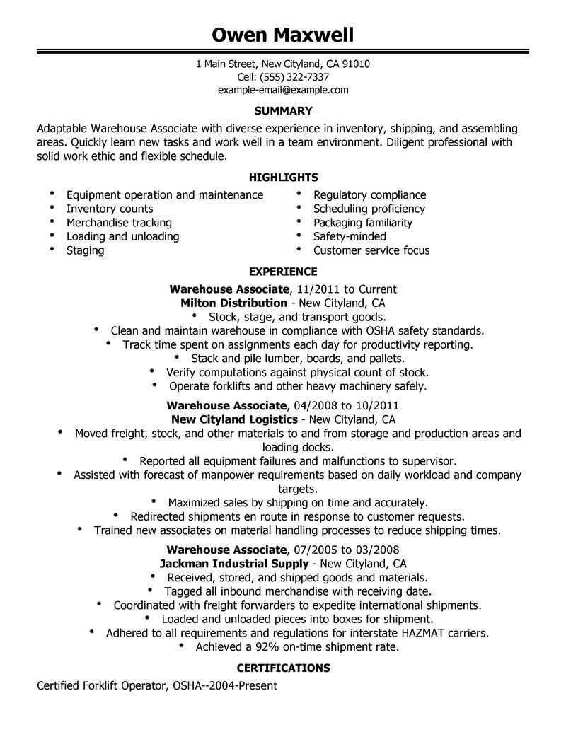warehouse resume objective samples for worker executive summary