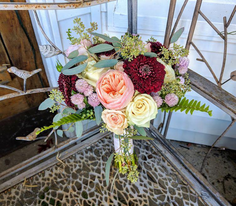 Burgundy And Peach Wedding Bouquet #harringtonflowers