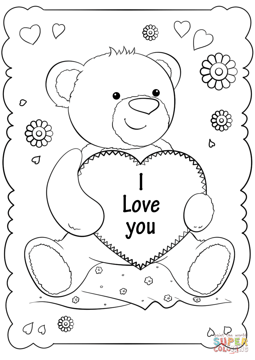 I Love You Card Super Coloring Valentine Coloring Pages Love