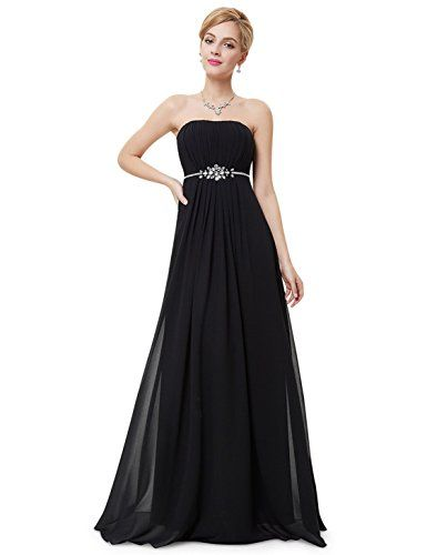 Ever Pretty Womens Rhinestone Belt Chiffon Bridesmaids Dress 6 US Black 7aae1a4f3