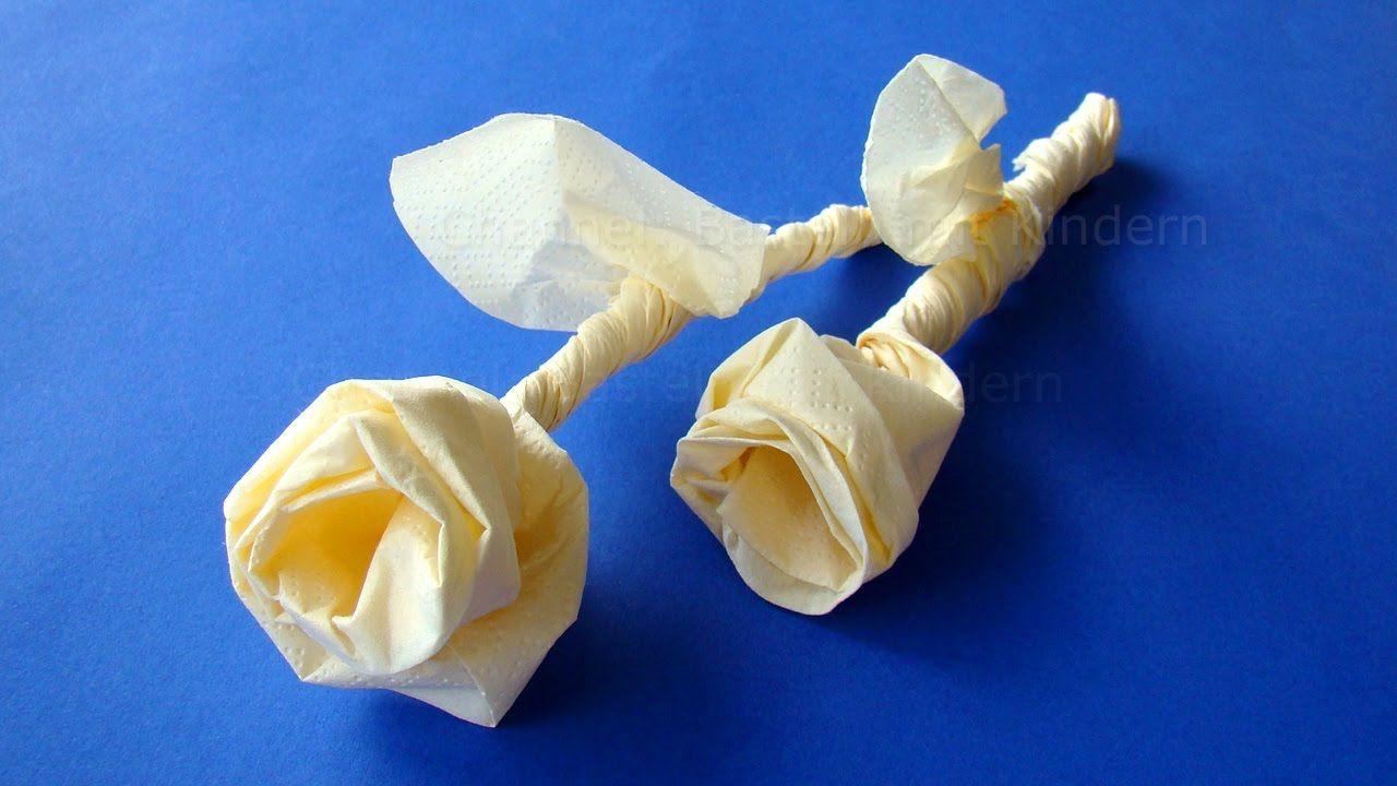 servietten falten rose origami rose basteln mit servietten diy gesch napkin folding. Black Bedroom Furniture Sets. Home Design Ideas