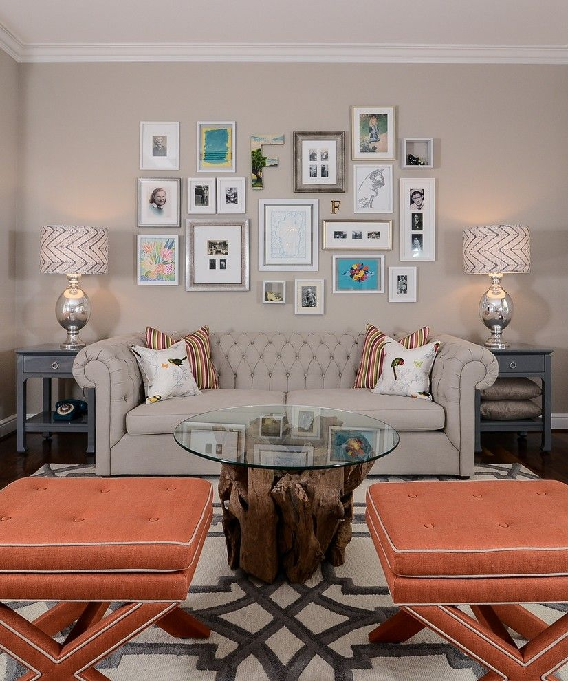Awesome HGTV Shows How A Driftwood Coffee Table, Coral X Benches, A Chesterfield  Sofa And A Gallery Wall Come Together In This Neutral Living Room.