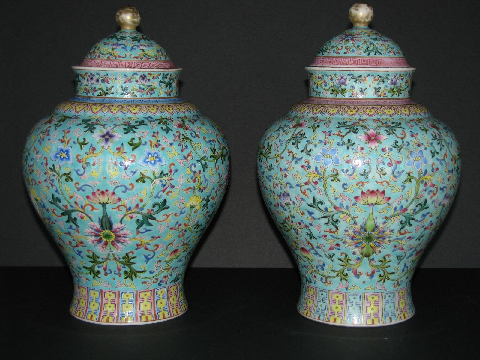 pair old chinese qing qianlong porcelain ginger jar vases. Black Bedroom Furniture Sets. Home Design Ideas