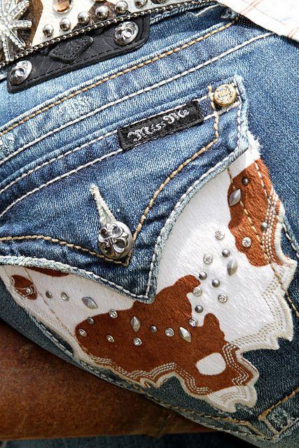 Miss Me cowhide pockets