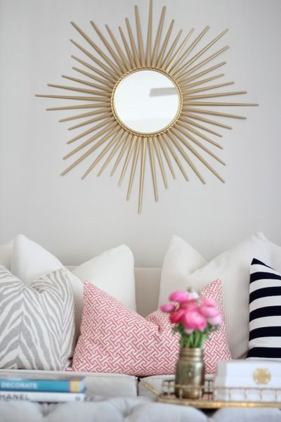 346 Living: Chic Living Room Featuring Martha Stewart Living Wales Metal  Antique Gold Framed Mirror