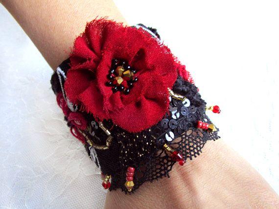 Golden embroidered cuff bracelet red black cuff bracelet textile bracelet handmade bracelet embroidery bead poppy flower
