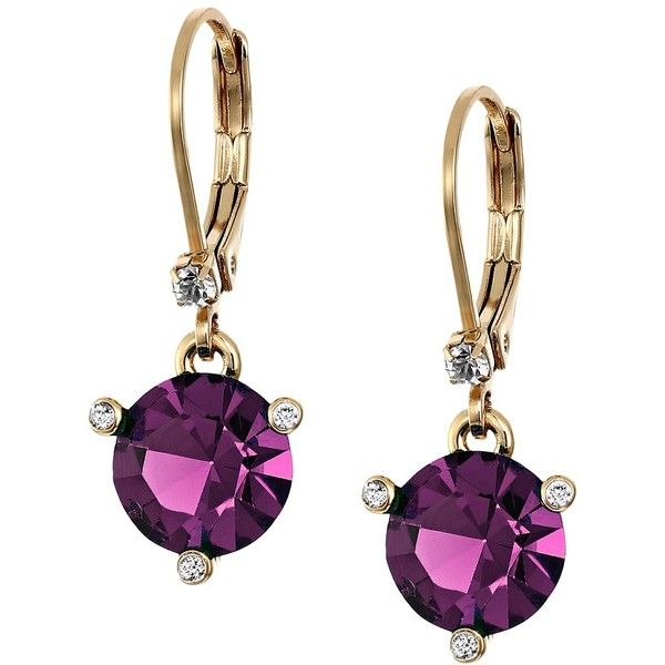 Kate Spade New York Rise and Shine Leverbacks Earrings (Amethyst)... ($48) ❤ liked on Polyvore featuring jewelry, earrings, tri color jewelry, colorful jewelry, multicolor jewelry, multi color jewelry and multi color earrings
