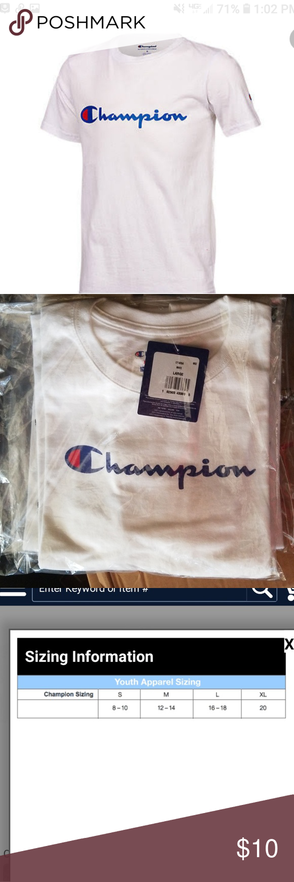 2 For 15 Champion Youth Tee Uni Size Please See Chart