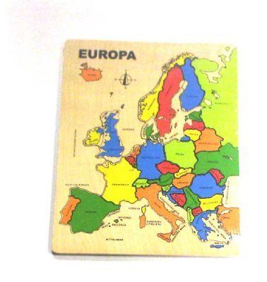 Houten legpuzzel Europa groot Een houten puzzel met alle europeese landen. Leg de stukjes op de juiste plek en leer zo de landen kennen Afmeting Houten legpuzzel Europa groot : ca 40 x 30 cm Levertijd ca 2-4 werkdagen