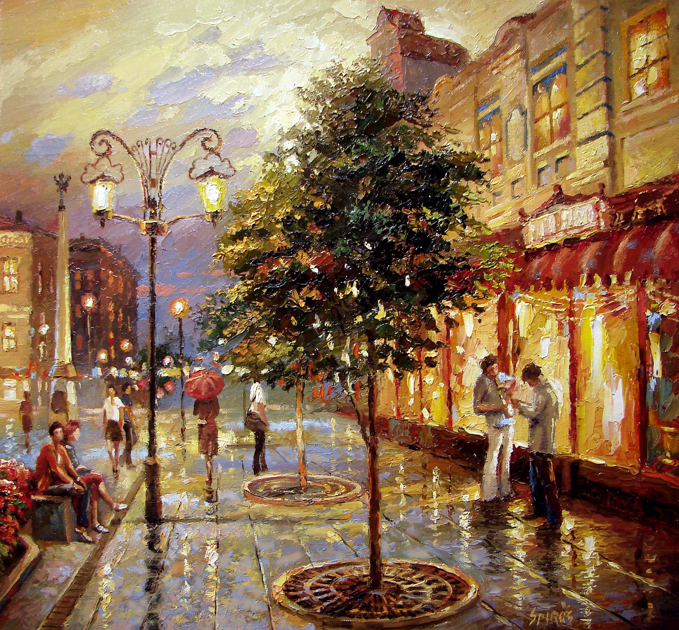 City Landscape Paintings By Dmitri Spiros Cuded Landscape Paintings City Landscape Cityscape Painting