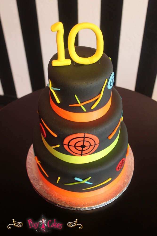 Birthday Cake 3 Tier Boy Laser Tag 10 Cakepins Cakes