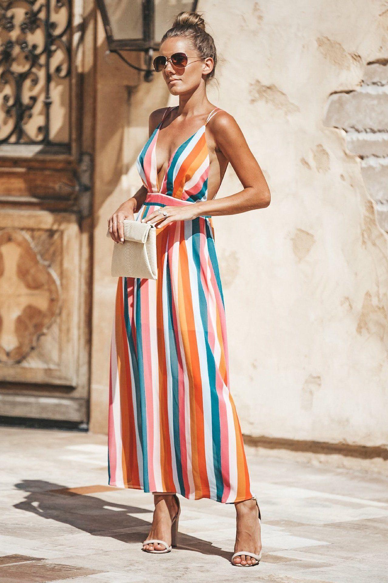 6d4d5d6379f8 V Neck Backless Striped Colorful Rainbow Sleeveless Sleeveless Party Dress  Maxi Dress #design #amazing #shopping #fashion #hashtag #stylish #style ...