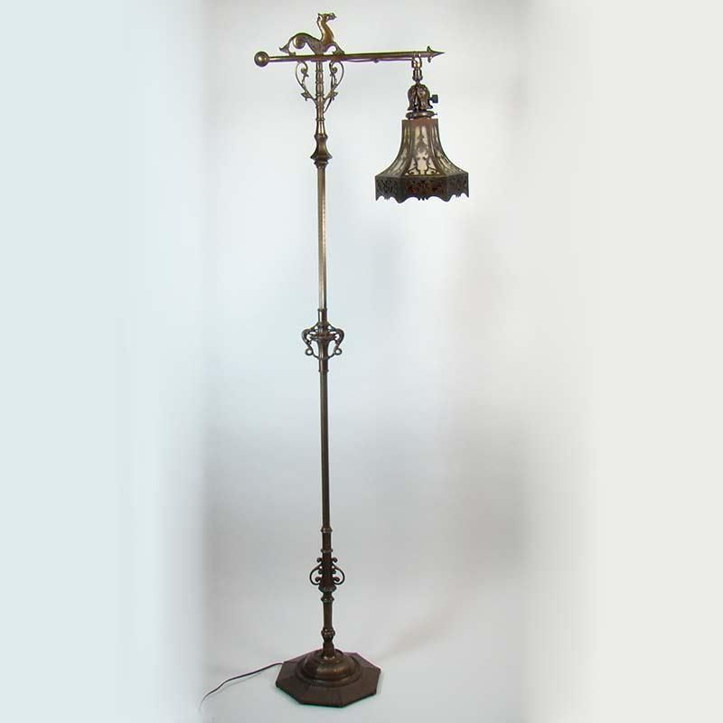 Rembrandt Floor Lamp With Sea Horse And Lizard Pierced Arts