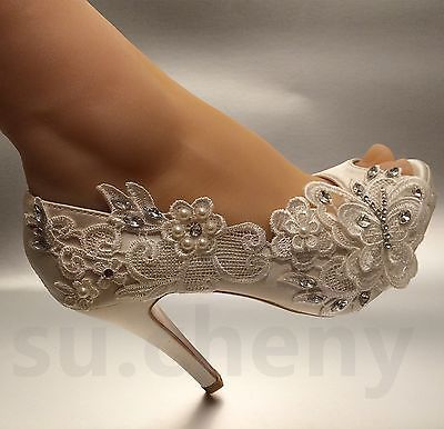 8/10 Cm Heel Pearl Ivory Silk Lace Open Toe Crystal Wedding Shoes Bride Size