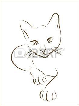 Silhouette chat illustration graphique de chasse chat illustration chats et divers - Tatouage silhouette chat ...
