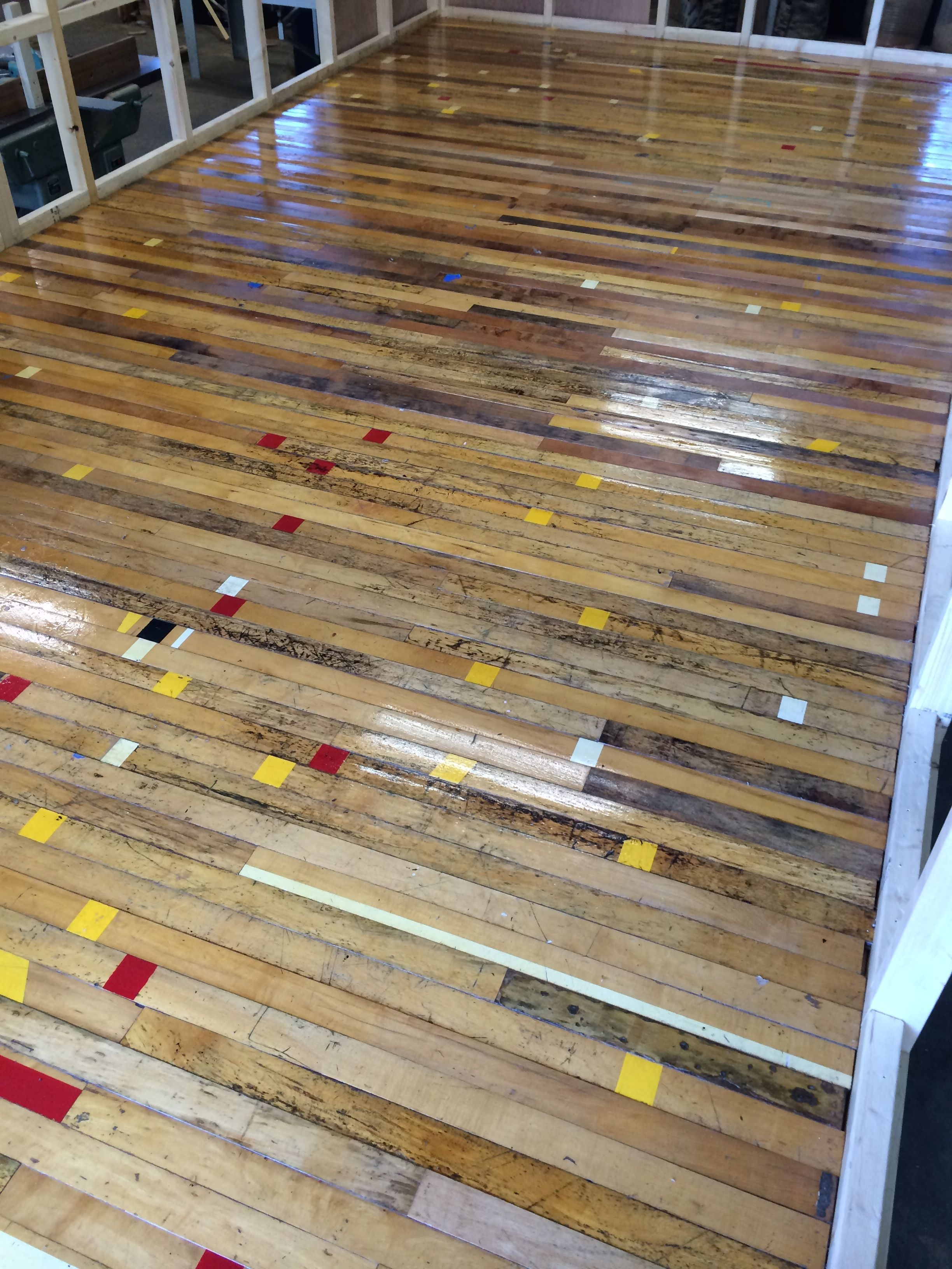 gym repurposedmaterials den wood used salvage more recycled pc cheap cal gymfloor surplus images berkeley floor