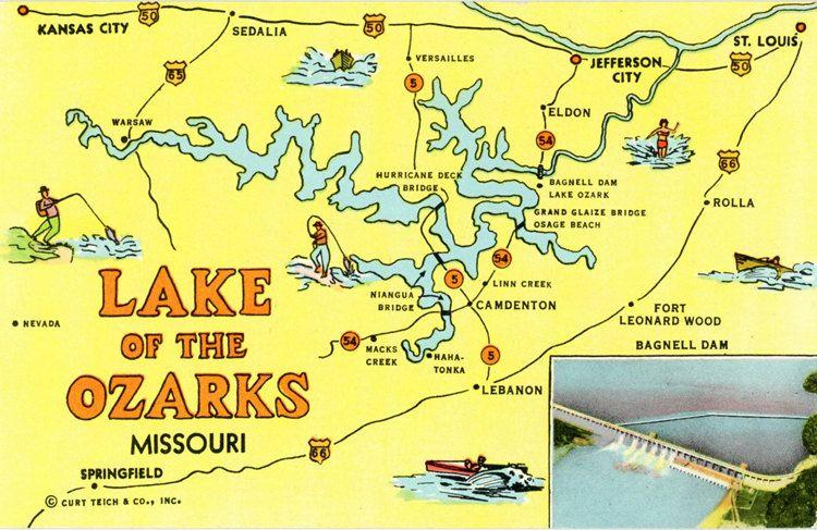 Vintage Missouri State Map Postcard Of The Lake Of The Ozarks - Missouri state map