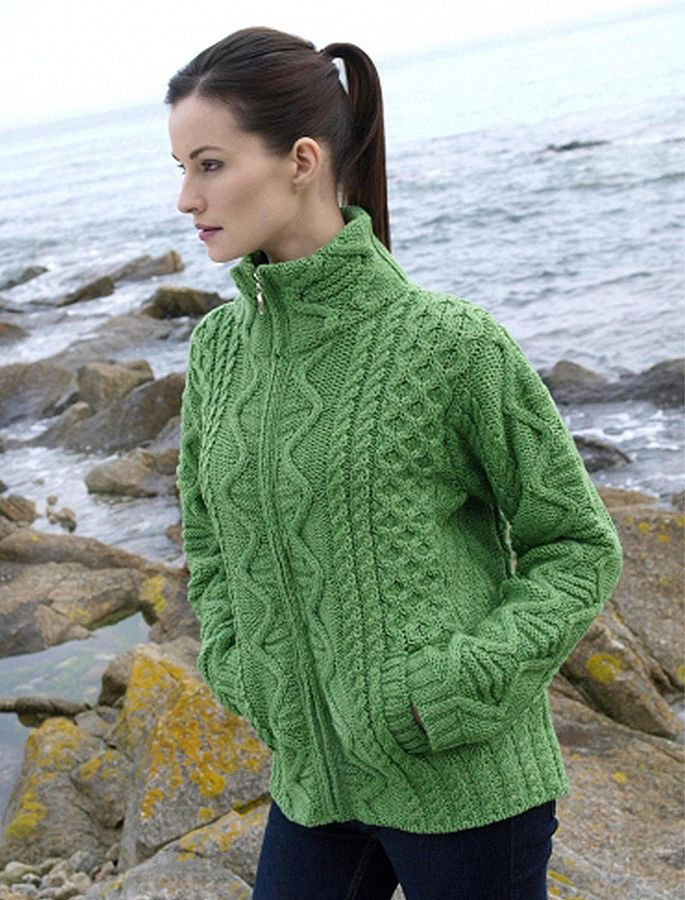 Aran Cardigan Zip Up Cardigan Women Irish Cardigan Irish